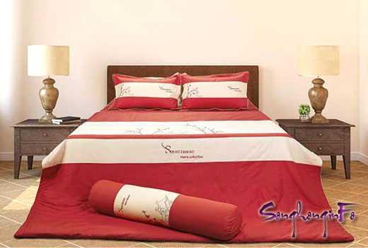 Bộ chăn ga gối Home H15 - 030, ga rèm 1.8 x 2.0m