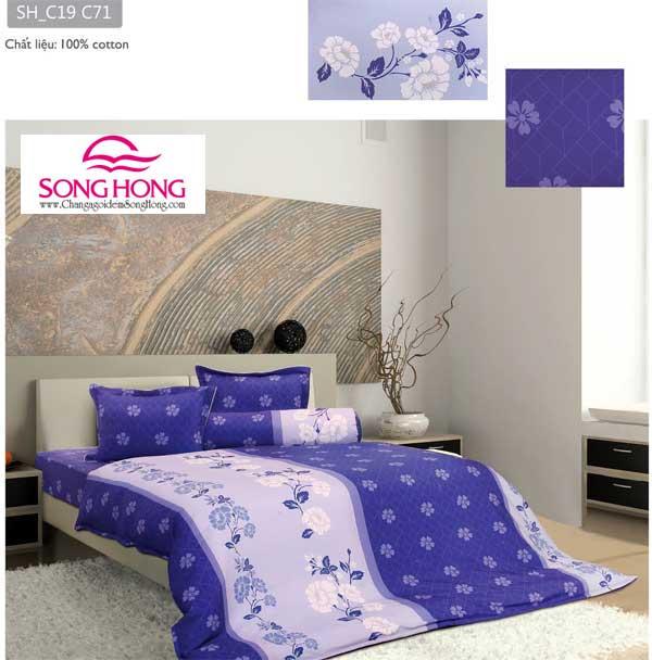 Chăn ga gối Sông Hồng dòng classic chất vải cotton mã C19-C71