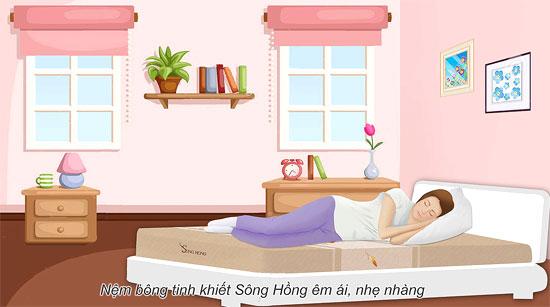 Đệm Sông Hồng đem lại cảm giác êm ai cho giấc ngủ, nhẹ nhàng